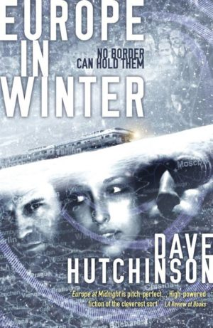 Book cover: Europe in Winter - Dave Hutchinson (3 faces in an icy surface)