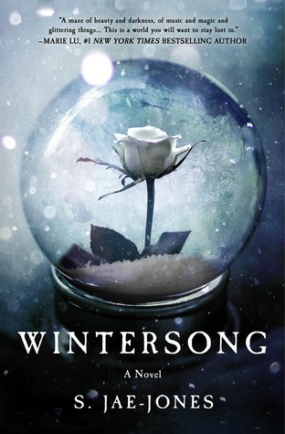 Book cover: Wintersong - S Jae-Jones (a white rose in a glass ball, with snow falling)